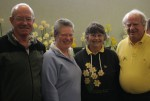 Malcolm Wheeler & Rozanne Burnby, Leitha & David Adams at the Woodend Daffodil Show at the Rangiora Baptist Church