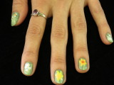 Fun Daffodil Fingernails! Left Hand.